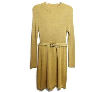 Free People Gold Lurex Sparkle Sweater Dress NWOT